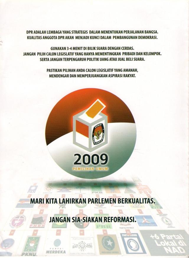 Poster Parlemen Berkualitas Pemilu 2009