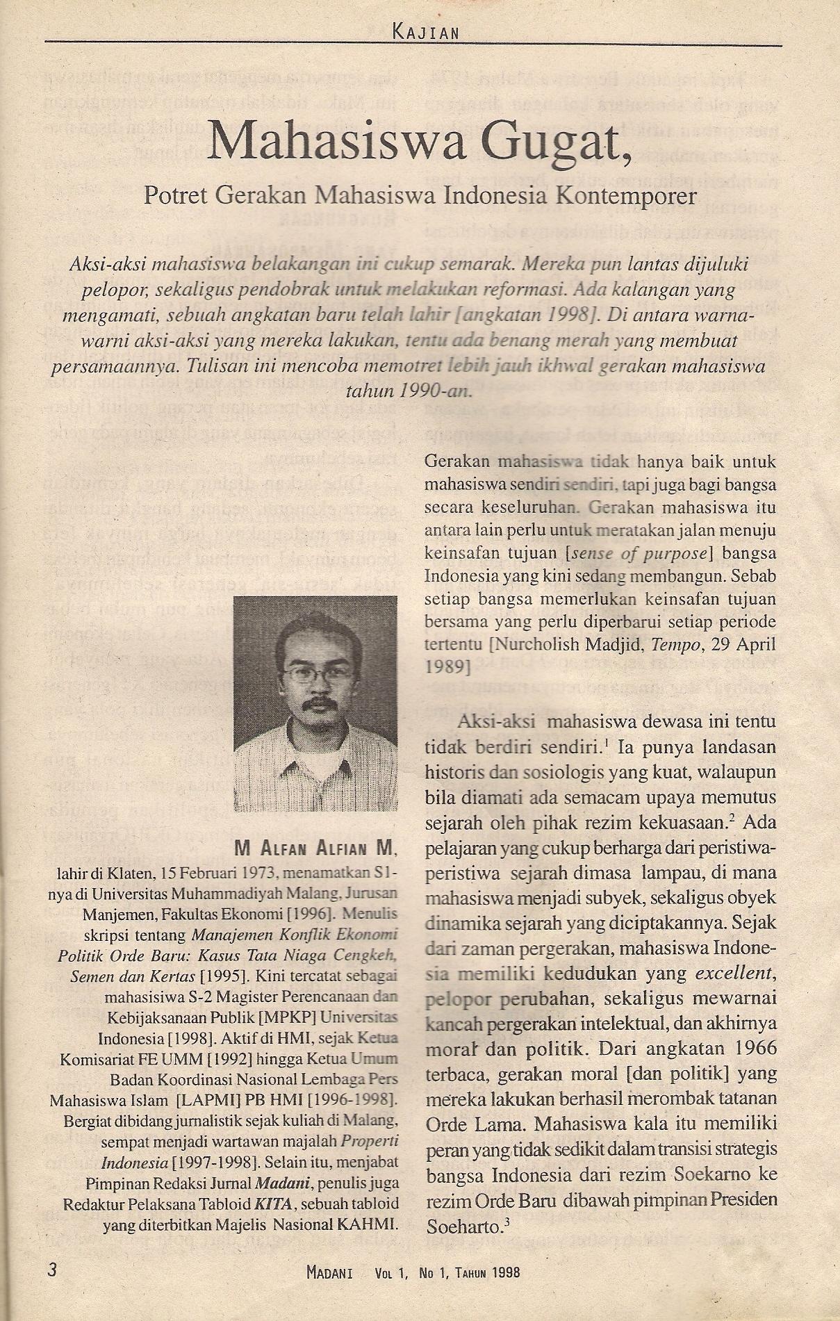 Dokumentasi Foto Peluncuran Jurnal Madani PB HMI Periode 1997-1999