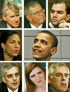 Obama's Inner Circle arah jarum jam dari kiri atas Gregory Craig, Scott Gration, Ben Rhodes, Senator Obama, Richard Danzig, Samantha Power, Denis McDonough, and Susan Rice (www.nysun.com)