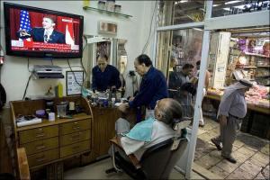 Suasana di Pencukur Rambut Kota Yerusalem (http://news.bbc.co.uk)
