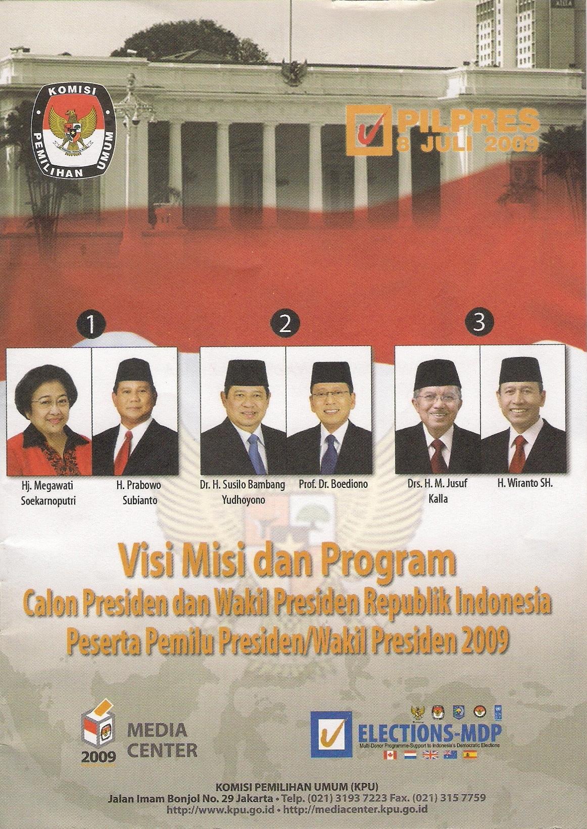 Visi Misi dan Program Calon Presiden-Wakil Presiden RI Pilpres 2009