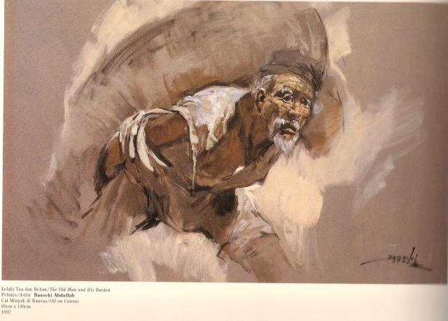 Repro Lukisan Lelaki Tua dan Beban Karya Basoeki Abdullah