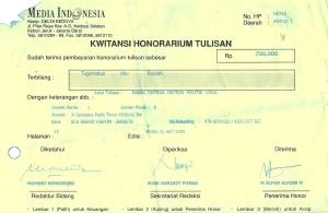 Kwitansi Honor Tulisan Media Indonesia M Alfan Alfian 1 Agustus 2005