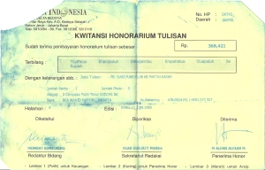 Kwitansi Honor Tulisan Media Indonesia M Alfan Alfian 1 Juni  2005