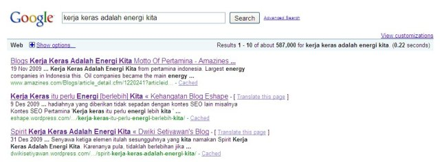 Screenshot Halaman 1 GoogleCom 4 Januari 2010
