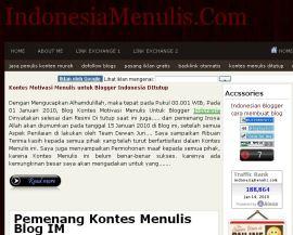 Screenshot Halaman Muka Situs Indonesia Menulis