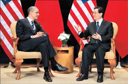 Presiden Amerika Serikat Barack Obama bertemu Presiden RRC Hu Jintao di KTT G-20 Seoul Korea Selatan (Source:Shanghai Daily)