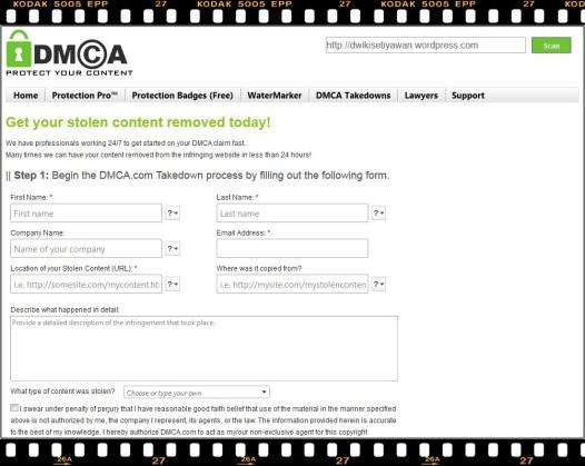 Formulir Isian DMCA.com Proteksi Konten Anda