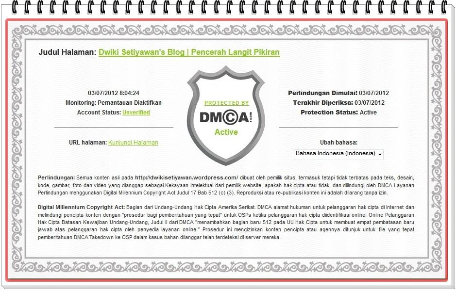 Memproteksi Konten Website atau Blog dari Plagiator  Dwiki Setiyawan