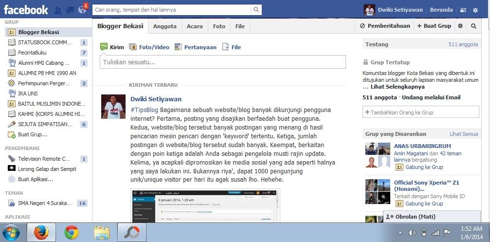 Grup Blogger Bekasi Facebook