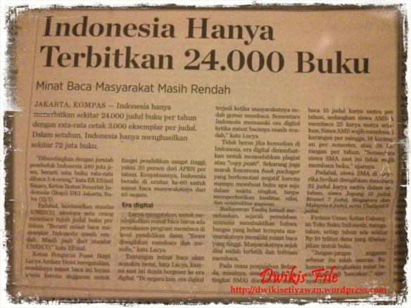 Reportase Jumlah Buku Terbitan Indonesia
