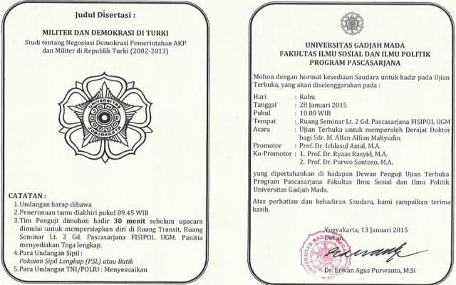 Undangan Ujian Terbuka Promosi Doktor Ilmu Politik Fisipol UGM Yogyakarta